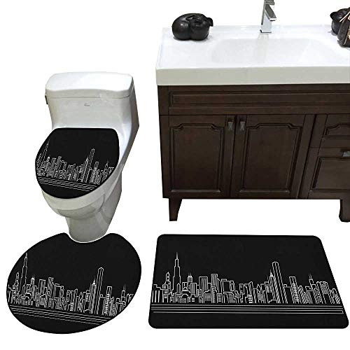 Chicago Skyline Bath Rug Set Line Abstract Style Urban Silhouette of Popular American Town Office Print Toilet Floor mat Set Onyx White
