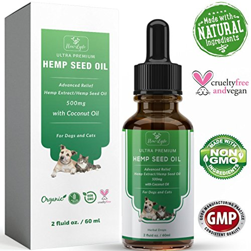 New Lyfe Hemp Oil With Coconut Oil For Dogs Cats Pets 500Mg 2Oz   Supports Anxiety Stress  Hip   Joint Pain Relief   Inflammation Promotes Energy Improves Digestion Healthy Hair   Smooth Skin