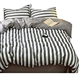 LifeTB Hotel Luxury Striped Bedding Set King Cotton Microfiber Reversible Duvet Cover Set Modern Men Boys Bedding Cover Set 1 Duvet Cover 2 Pillowcases King Bedding Collection