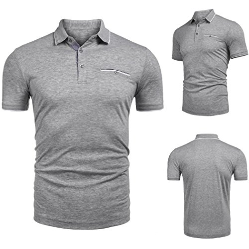 Custom Fit Match (Men Basic Polo Shirt Short Sleeve Cheap Long Sleeve Cool Graphic for Men Custom Branded Short Summer Personalized Awesome Large Big Plus Size XL XXL Gents V Neck Sports (M, Gray 02))