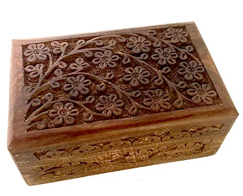(New Age Imports, Inc. Gift Ideas~ Floral Carved Handmade Wooden Box 4 inches by 6 inches~Ideal for Storing Jewelry, Coins, Tartot Cards, Small Treasures, URN Box & etc (Floral Carved)