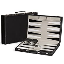 17 Classic Leatherette Backgammon Game Set with Board / Travel Case
