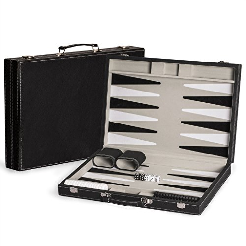 Yellow Mountain Imports 17 Inch Classic Leatherette Backgammon Game Set with Board (Travel Case)