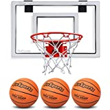 GoSports Basketball Door Hoop with 3 Premium Basketballs & Pump