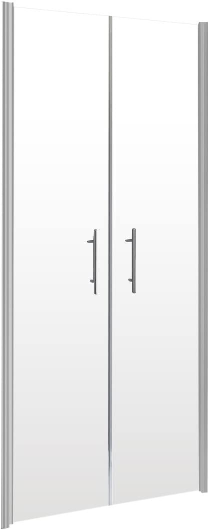 90x192 cm Schulte 4061554000584 portes de douche battantes en niche verre transparent profil/é alu nature traitement anti-calcaire