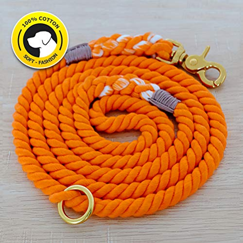 - FAYOGOO Dog Leash Cotton Rope Leash, Durable Handmade Braided Dog Leash, Extra Soft Cotton Rope Leashes for Pets, 5-Feet Cotton Dog Lead for Small and Medium Dogs (Orange)