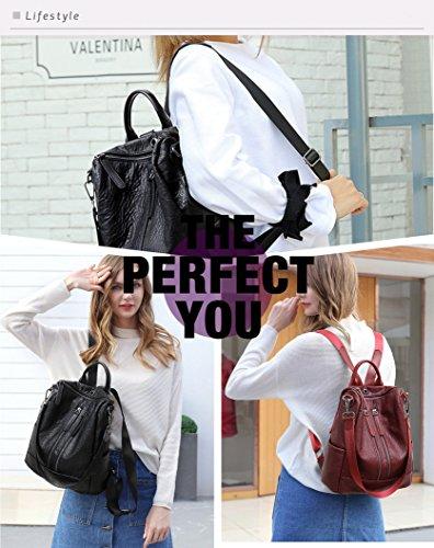 for Shoulder Bag Travel PU black Backpack Backpack FIGROL School Girls Dz Ladies Women Satchel Purse �� Leather Casual Bag wqAx6IX