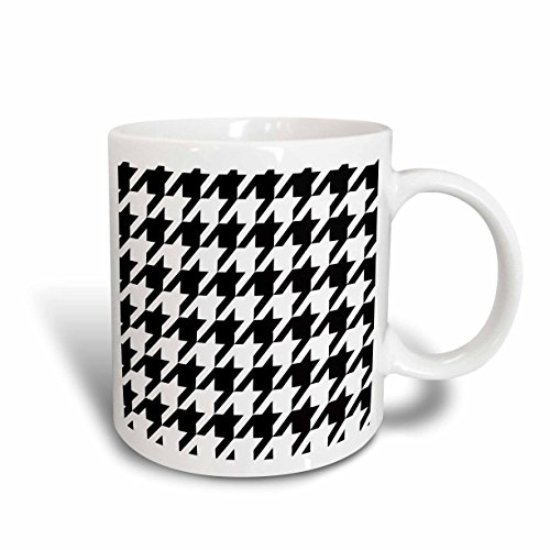 Houndstooth Gift - 3dRose Black and White Houndstooth Mug, Large, 11-Ounce