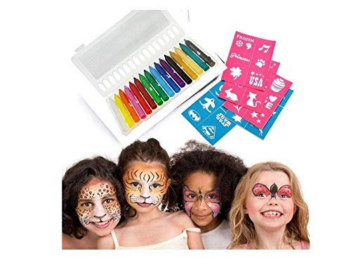 Face Theme Paint (Set 16 Colors Face Body Paint Sticks Crayons Non-Toxic Body Painting Pencils Sticks Halloween Easter Theme Parties Cosplay Fancy Dress Ball Masquerade Party Makeup Kits)