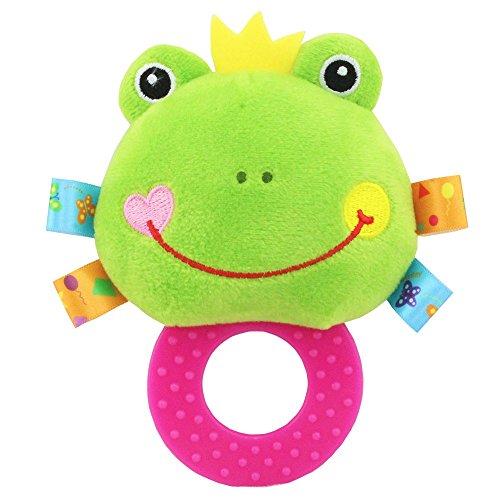 Anwish Frist Soft Rattle Teething Toy, Baby Infant Kids Frog Plush Soft Rattle Teething Toy