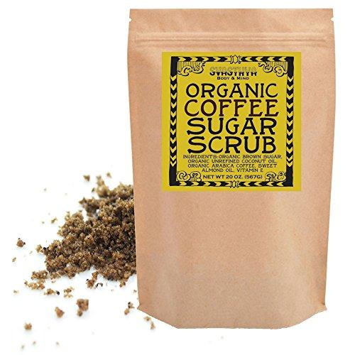 Svasthya Organic Coffee Sugar Scrub for Face & Body 100% All Natural Deep Cleansing & Exfoliating for Tone, Radiant Skin, 20 oz