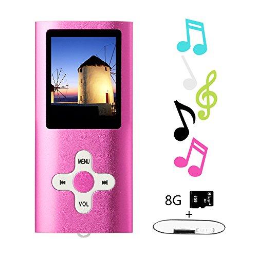 Btopllc Lecteurs MP3 8 Go Lecteurs MP3 MP4 Lecteur MP3 / MP4 Entrée audio numérique Compact Music Music Hi-Fi Lecteur MP3 Media Player (rose)