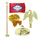 Arkansas 3ft x 5ft Flag, Flagpole, Base, and Tassel (Metal Eagle, 8 Ft Oak Pole)
