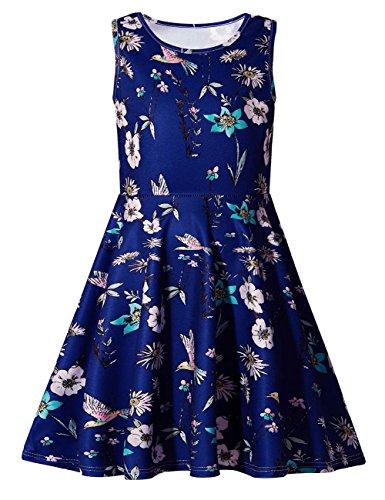 Uideazone Girls Floral Round Neck Sleeveless Dress Cute