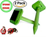 funfunfly 2 pack [Upgrade Version] Solar Mole Repeller Ultrasonic Repel Mole, Voles, Gopher, Mice and Rats, Rodent Sonic Pest Control with Waterproof protect Garden Yard Lawn Farm ()
