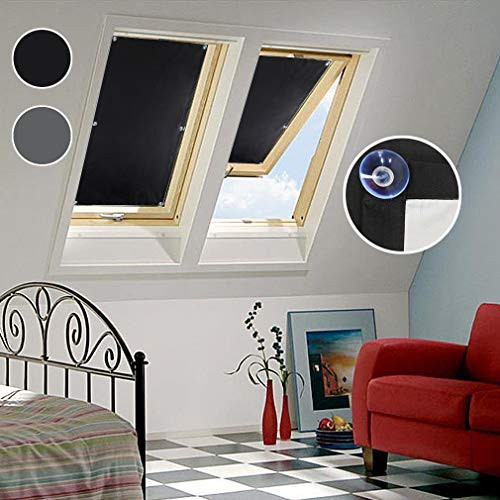 Oxdigi Blackout Blinds Window Cover with Suction Cups for Travel Baby Nursery Skylight Shade Bedroom Car RV Door Temporary Portable Curtain Thermal Insulated Blocking 100% Light 37.7 x 36.6 inches