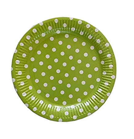PrettyurParty Polka Dots Paper Plates (Pack of 10) - Lime Green
