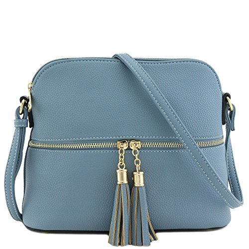 Tassel Zipper Pocket Dome Crossbody Bag (Blue)