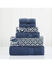 "Amrapur Overseas | Trefoil Filigree 6 Piece Reversible Yarn Dyed Jacquard Towel Set (Indigo), 13"" x 13"""