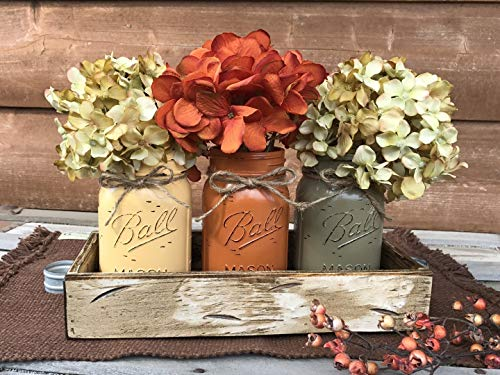 - FALL Mason Canning JARS in Wood Antique White Tray Thanksgiving Centerpiece with 3 Ball Pint Jar -Kitchen Table Decor -Distressed Rustic -Flowers (Optional) - Painted Jars Orange Brown Green Yellow