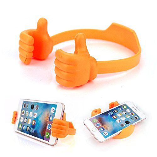 Cell Phone Tablet Holder, VPR Thumbs Up Cute TPU Plastic Universal Flexible Phone Tablet Bed Desk Stand for Kitchen, Office, Bedroom, for iPad Mini 4 3 2 iPhone 7 6S Plus Samsung 7 S6 Edge (Orange) (Samsung S4 Mini Case 5sos compare prices)