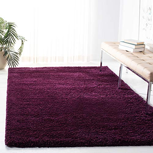 3' 2 Inch Area Rug - Safavieh Santa Monica Shag Collection SGN725-7373 Purple Plush Area Rug (3' x 5')