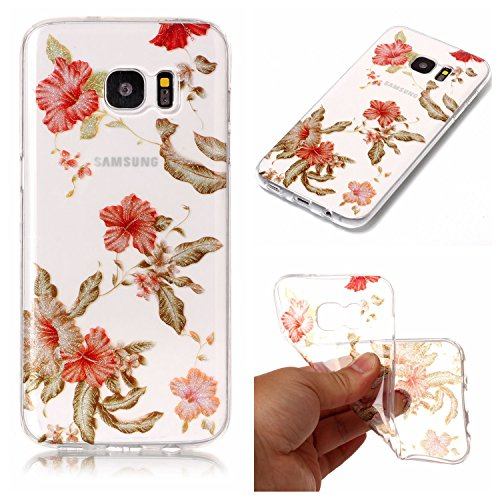 (Leecase Pretty Shiny Sparkly Red Azalea Pattern Design Ultra Thin Flexible TPU Soft Transparent Clear Rubber Bumper Case Cover for Samsung Galaxy S6)