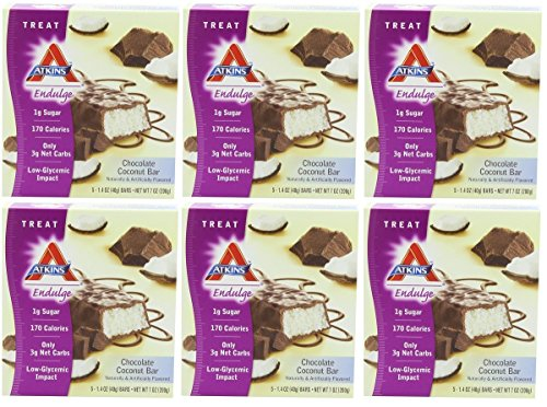 Atkins Endulge Bars, Chocolate Coconut, 5-Count 1.4-Ounce Bars (Pack of 6)