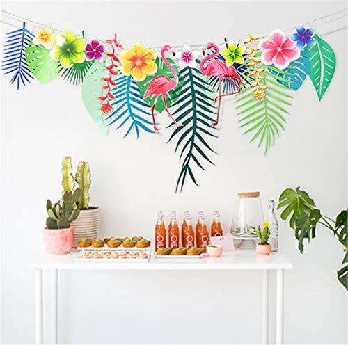 Tmrow 1Pc 3M Hawaiian Tropical Leaves Flamingo Summer Party Decor Banner Garland Bunting,Long Flamingo Flower Ornaments ()