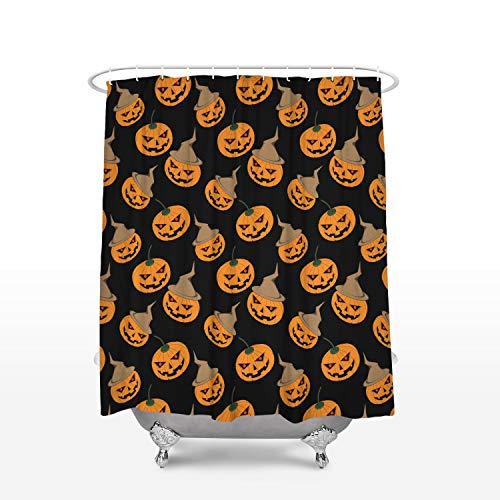 EZON-CH Halloween Theme Pumpkin Face Waterproof Polyester Fabric Bathroom Shower Curtain, 66x72 inch