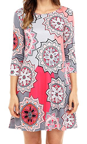 Happy Sailed Women New Ethnic Print Casual Pocket Mini Dresses, Large Multicolored-11