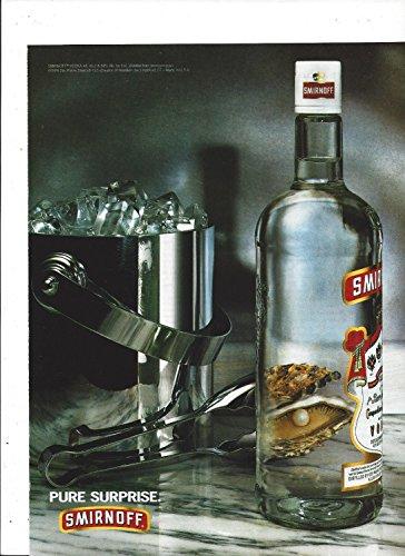 (PRINT AD For 1994 Smirnoff Vodka Pure Surprise: Bottle & Ice Bucket Scene)