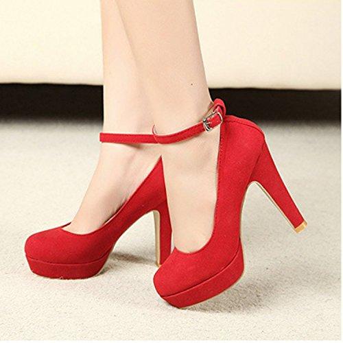 TOOGOO (R) Mujer del tacon alto de la plataforma del estilete con la correa del tobillo de la hebilla zapatos de tacon alto de imitacion gamuza Rojo - 36