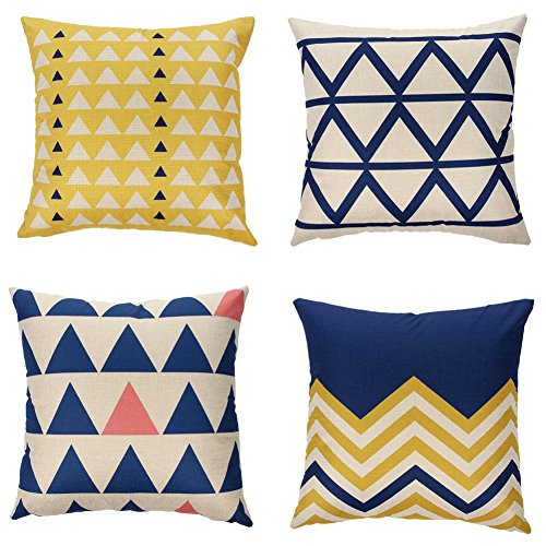 Modern Throw Pillows (Ogiselestyle Cotton Linen Home Decorative Throw Pillow Case Cushion Cover for Sofa Couch Modern Geometric Art Print 18