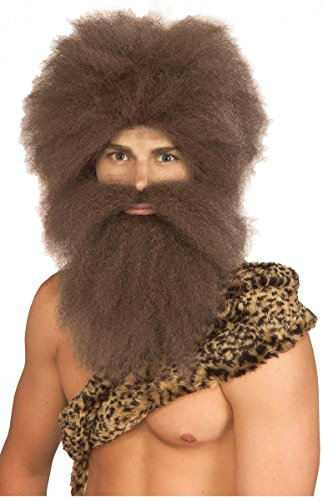 Caveman Costumes Wig (Forum Caveman Wig and Beard Set, Brown, One Size)