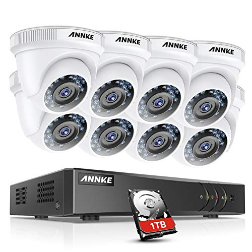 ANNKE 16CH H.264+ Video Security System 1080P Lite DVR with 1TB HDD and (8) 1080P Surveillance Dome Cameras, IP66 Weatherproof, Instant email Alert with Images
