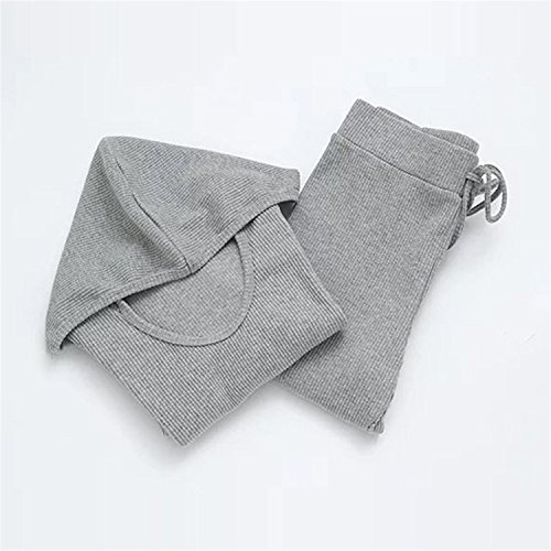 Fashion New Women Knitted Pants Crop Tops Sets Hoodie Long Sleeve Slim Elastic Waist Two Piece Outfits Tracksuits Ladies Suit Gray M (Maxi Dress For Wedding In Pakistan 2016)
