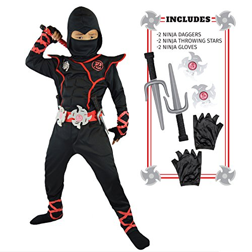Spooktacular Creations Boys Ninja Deluxe Costume for Kids with Ninja Daggers and Throwing Stars (L 10-11)
