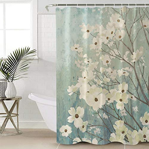 SUN-Shine Bathroom Flowering Dogwood Blossoms Shower Curtain Waterproof Fabric Polyester with Hooks 72x78IN (Green Flowered Curtains)