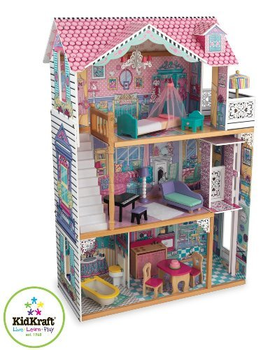 KidKraft Annabelle Dollhouse With Furniture  Constructed From Lightweight  Wood  A Classic Three Story