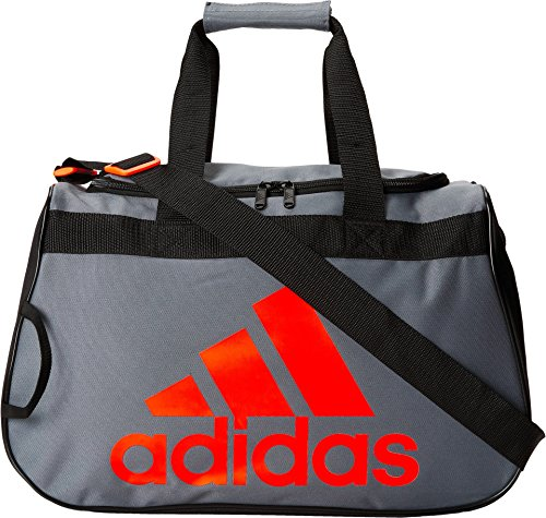 adidas Diablo Small Duffel Bag, Onix/Black/Solar Red, 11 x 18.5 x 10-Inch