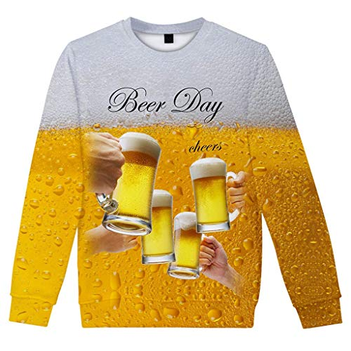 (iLXHD Men'sl Long Sleeve Casua Beer Festival 3D Printing Crew Neck Top Blouse AA480 Yellow)