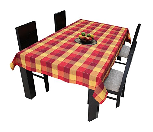 Airwill Cotton Jacquard Dobby Checks with Multicolor Combos of 4/6 Seater Tablecloth, Sized 140cm Width and 140cm Length Price & Reviews