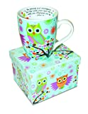 Divinity Boutique Inspirational Ceramic Mug - Owls on Tree, Joshua 1:9, Be Strong and Courageous, Multicolor