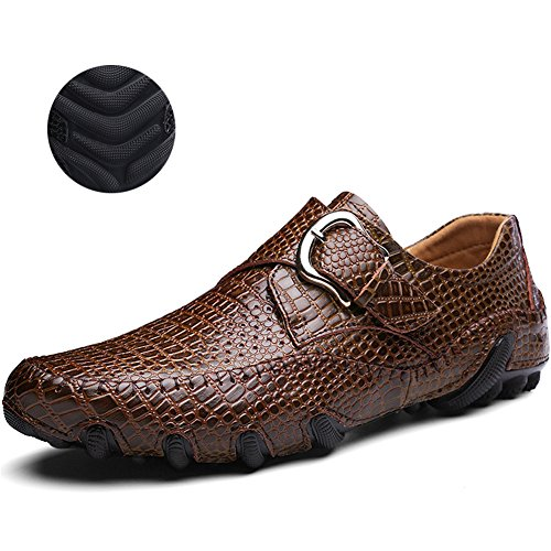 Mens Driving Shoes Breathable Casual Penny Leather Loafers(Brown 44)