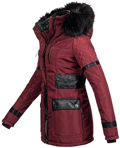 Navahoo Damen Designer Winter Jacke Warmer Mantel Lang Parka Gefüttert B304  Bordeaux 2IHn5J ...
