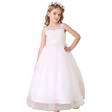 c5d06823a9809 Amazon.com: Bow Dream Flower Girl Pageant Dress Girls Elegant Lace ...
