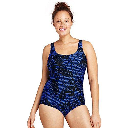 Lands' End Women's Plus Size Long Torso Tugless One Piece Swimsuit Soft Cup, 18W, Black Leaf Stripe Lands End Womens Swimsuit