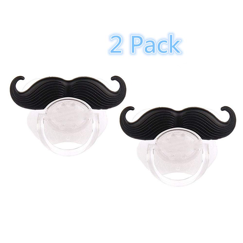 Baby Funny Pacifier Cute Kissable Mustache Pacifier For Babies and Toddlers Unisex - BPA Free Latex Free made With Silicone -Pack of 2 (Coffee1) Luckytravel Mall