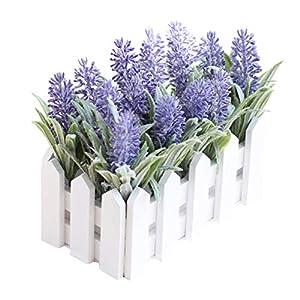 Vosarea Artificial Lavender Flower with Wooden Fence Vase Set Silk Flowers Home Kindergarten Window Decoration Birthday Gift(Dark Violet) 87